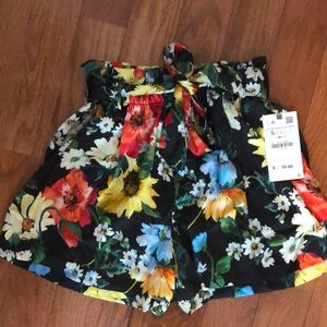NWT Zara Floral Silky Shorts